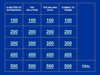 Jeopardy style review game - Simplifying, Solving, In-Outs, Terms