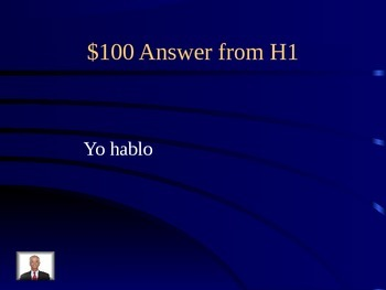Jeopardy with Ar Verbs, Weather, Ir, Querer for Spansih 1