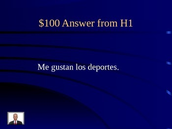 Jeopardy with Gustar Likes Adjectives Dislikes for Expresate Final Exam