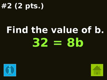 Jeopardy_Equations (1-step, 2-step, multi-step, word problems)
