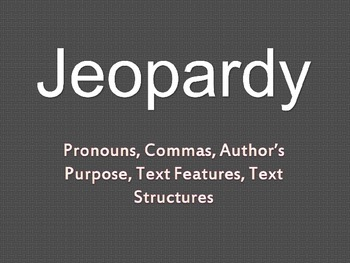Jeopary Review Game