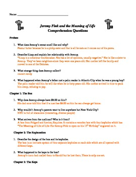 Jeremy Fink and the Meaning of Life Chapter Questions (Answer Key)