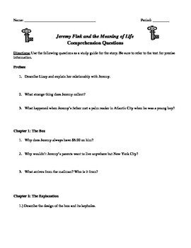 Jeremy Fink and the Meaning of Life Chapter Questions