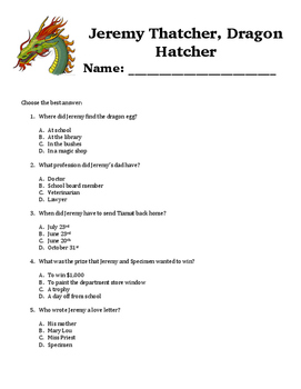 Jeremy Thatcher, Dragon Hatcher Comprehension Questions