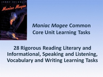 "Jerry Spinelli's ""Maniac Magee"" Common Core Learning Tasks - 28 Rigorous Tasks!!"