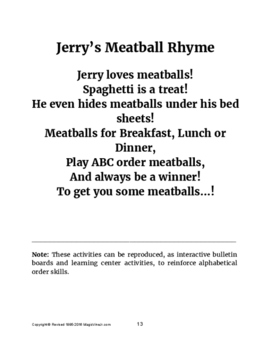 Jerry's ABC Order Lessons (Helping Kids with Sequential Order Development)