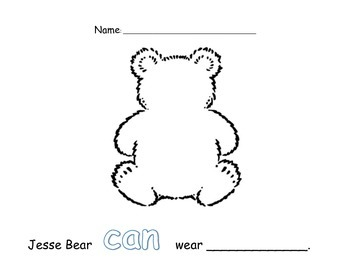Jesse Bear Writing Prompt (with sight word CAN)
