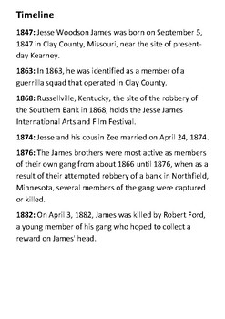 Jesse James Timeline and Quotes
