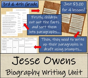Jesse Owens - 3rd Grade & 4th Grade Biography Writing Activity
