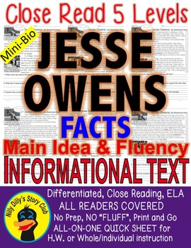 Jesse Owens CLOSE READING 5 LEVELED PASSAGES Main Idea Fluency Check TDQs!