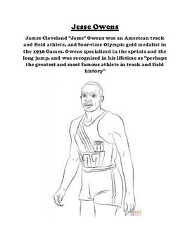 Jesse Owens Description And Coloring Sheet By Pointer Education Tpt
