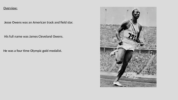 Jesse Owens - Life Story Power Point - facts information - 1936 Olympics