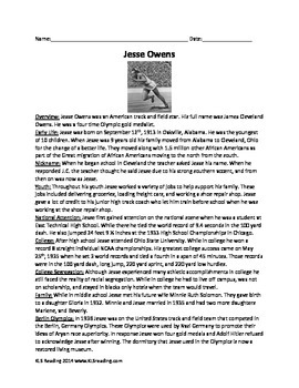 Jesse Owens - Olympic Hero - Review Article Questions Vocabulary PDF