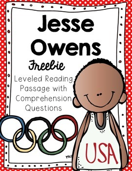 Jesse Owens Reading Passage and Comprehension Questions Freebie
