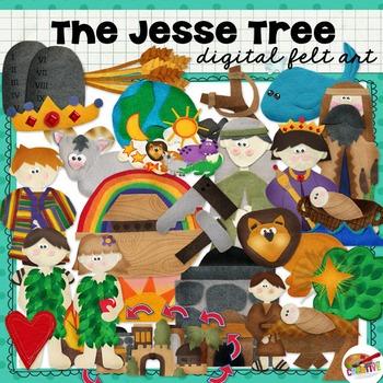 Jesse Tree Digital Felt Art and Clip Art