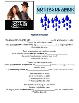 Jesse y Joy song -Gotitas de Amor subjunctive and culture and Hispanic Heritage