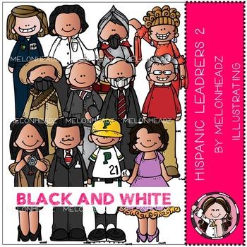 Melonheadz: Hispanic Leaders clip art Part 2 - BLACK AND WHITE