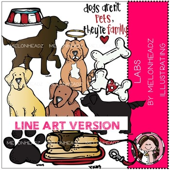 Lab Dogs clip art - LINE ART- by Melonheadz