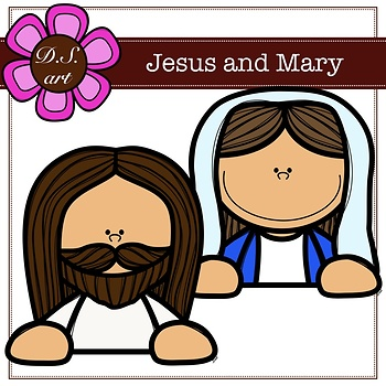Jesus And Mary Digital Clipart (color and black&white)