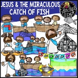 Jesus And The Miraculous Catch Of Fish {Educlips Clipart}