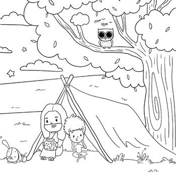 Jesus Camping- Coloring Page