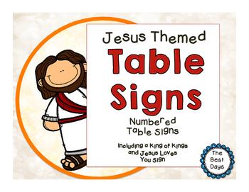 Jesus / Christian Themed Classroom Decor:  Table Signs
