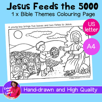 """""""Jesus Feeds the 5000"""" Bible Coloring Sheet/Colouring Page (Christianity/Church)"""