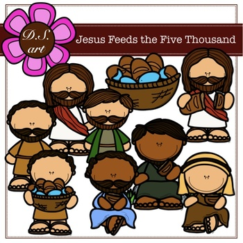 Jesus Feeds the Five Thousand Digital Clipart (color and black&white)