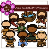 Jesus Feeds the Five Thousand Digital Clipart (color and b