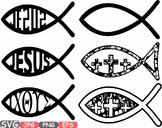 Jesus Fish religious symbol Christ Bible sign icons God clipart svg cross -486s