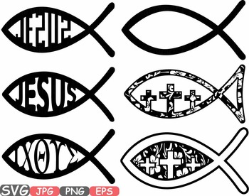 Jesus Fish religious symbol Christ Bible sign icons God cl