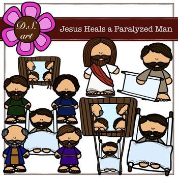 Jesus Heals a Paralyzed Man Digital Clipart (color and black&white)