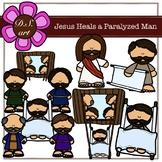 Jesus Heals a Paralyzed Man Digital Clipart (color and bla