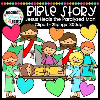 Jesus Heals the Paralyzed Man Clipart