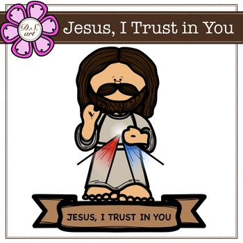 Jesus, I Trust in You digital Clipart (color and black&white)