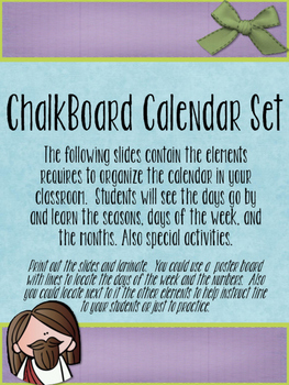 Jesus Loves Me Theme Chalkboard Calendar Classroom Set