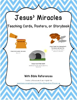 Jesus' Miracles Teaching Cards, Posters, or Storybook for Bible Learning