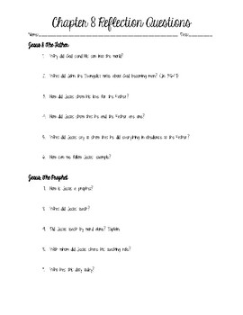 Jesus, The Father, King, and Prophet Reflection Questions Worksheet