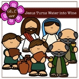 Jesus Turns Water into Wine Digital Clipart (color and bla