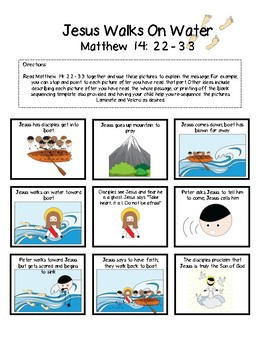 Jesus Walks on Water - Story Sequencing Activity