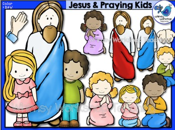 Jesus With Kids Clip Art - Whimsy Workshop Teaching