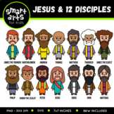 Jesus and 12 Disciples Clip Art Set with names