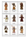 Jesus and His 12 Disciples Memory Match Printable Game. Preschool-Kindergarten.