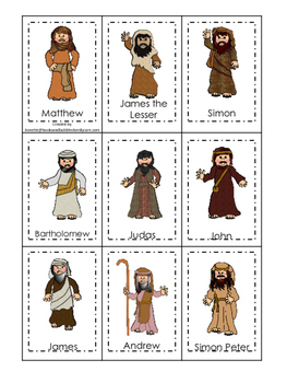 Jesus and His 12 Disciples Memory Match Printable Game ...