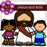 Jesus and kids Digital Clipart (color and black&white)