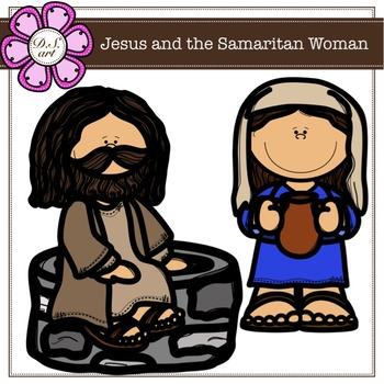 Jesus and the Samaritan Woman digital clipart (color and black&white)