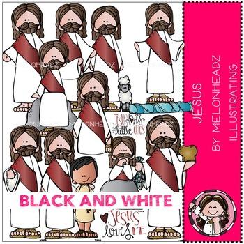 Melonheadz: Jesus clip art - BLACK AND WHITE