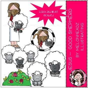 Jesus clip art - Good Shepherd - Mini - Melonheadz Clipart