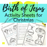Jesus is Born Christmas Printable Activity Sheets for Sund