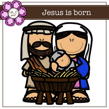 Jesus is born digital clipart (color and black&white)